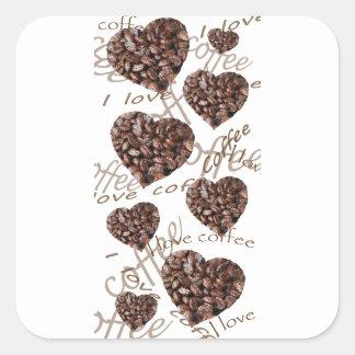 "¡""Amo el café! "" Pegatina Cuadrada"