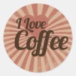 Amo el café pegatinas redondas