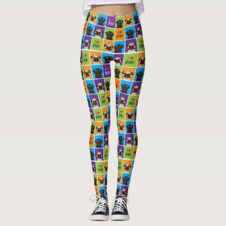 Amo el cervatillo de los cuadrados del color de leggings