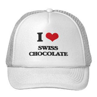 Amo el chocolate suizo gorros bordados
