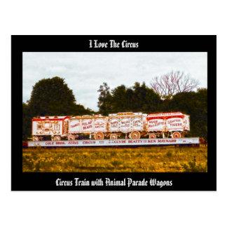¡Amo el circo! Postal animal de los carros del