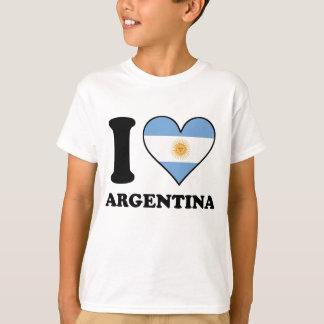 Amo el corazón argentino de la bandera de la camiseta