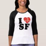 Amo el corazón del puente de San Francisco Camiseta