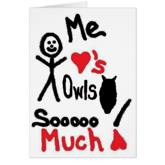 Amo el dibujo animado de los búhos tarjeta de felicitación