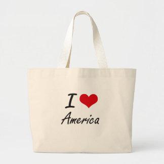 Amo el diseño artístico de América Bolsa Tela Grande