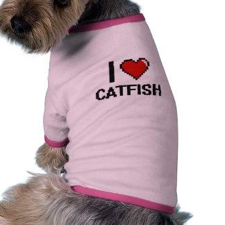 Amo el diseño de Digitaces del siluro Camiseta Con Mangas Para Perro