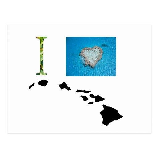 Amo el diseño de Hawaii Tarjetas Postales
