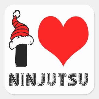 Amo el diseño de Ninjutsu Pegatina Cuadradas Personalizadas