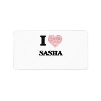 Amo el diseño de Sasha (corazón hecho de palabras) Etiqueta De Dirección