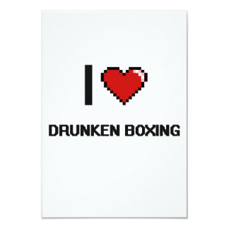 Amo el diseño retro de Digitaces del boxeo Invitación 8,9 X 12,7 Cm