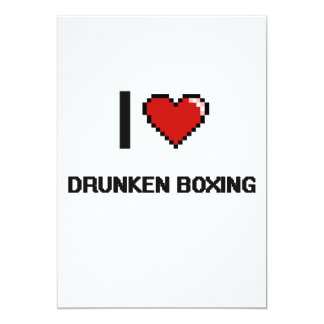 Amo el diseño retro de Digitaces del boxeo Invitación 12,7 X 17,8 Cm