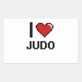 Amo el diseño retro de Digitaces del judo Pegatina Rectangular