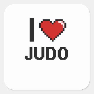 Amo el diseño retro de Digitaces del judo Pegatina Cuadrada