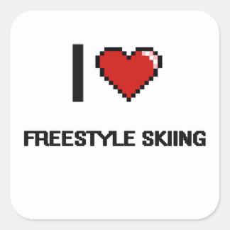 Amo el diseño retro de esquí de Digitaces del Pegatina Cuadrada