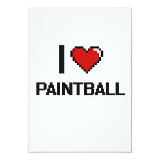 Amo el diseño retro de Paintball Digital Invitación 12,7 X 17,8 Cm