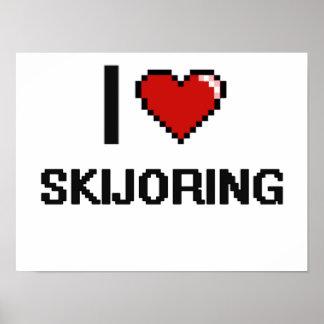 Amo el diseño retro de Skijoring Digital Póster