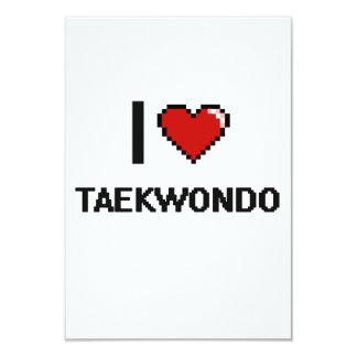 Amo el diseño retro del Taekwondo Digital Invitación 8,9 X 12,7 Cm