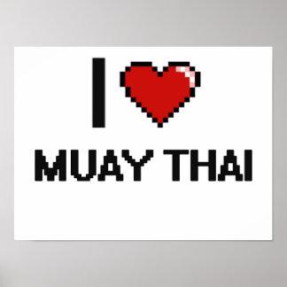 Amo el diseño retro tailandés de Muay Digital Póster