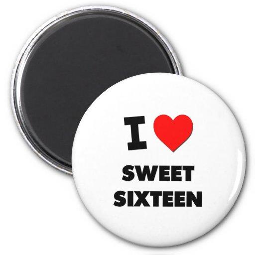 Amo el dulce dieciséis imán de frigorifico
