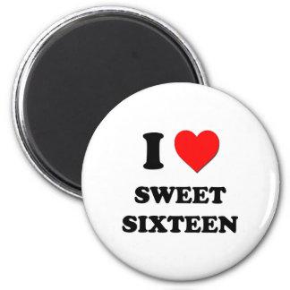 Amo el dulce dieciséis imanes de nevera