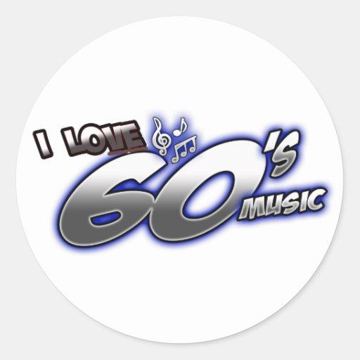 Amo el fan de música de los años 60 de los años 60 etiquetas redondas