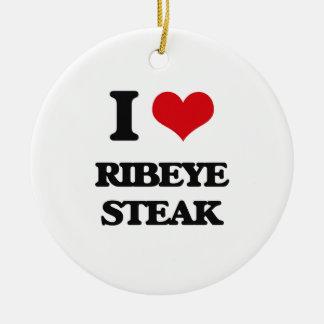 Amo el filete de Ribeye Adorno Redondo De Cerámica