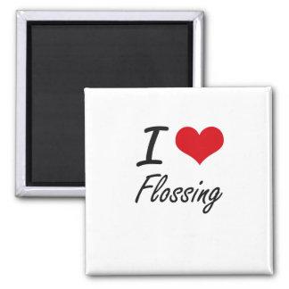 Amo el Flossing Imán Cuadrado
