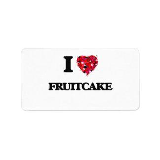 Amo el Fruitcake Etiqueta De Dirección