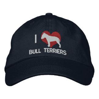 Amo el gorra bordado de los terrieres de Bull (osc Gorros Bordados