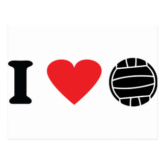 Amo el icono del voleibol tarjeta postal