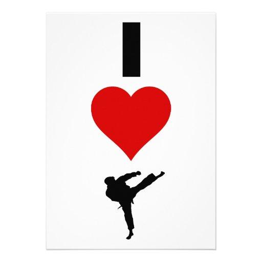 Amo el karate (vertical) invitación