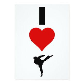 Amo el karate (vertical) invitación 12,7 x 17,8 cm