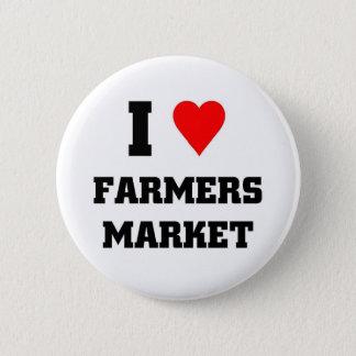 Amo el mercado de los granjeros chapa redonda de 5 cm