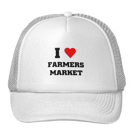 Amo el mercado de los granjeros gorras de camionero