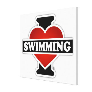 Amo el nadar impresión de lienzo