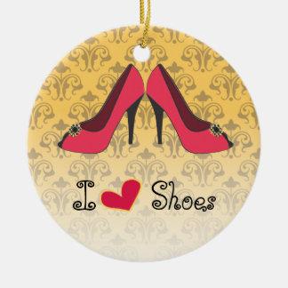Amo el ornamento del navidad de los zapatos ornatos