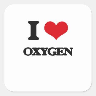 Amo el oxígeno pegatinas cuadradases personalizadas