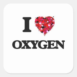 Amo el oxígeno pegatina cuadrada