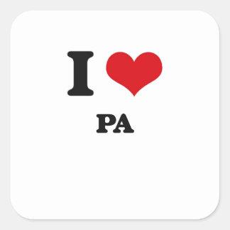 Amo el PA Calcomanías Cuadradas Personalizadas