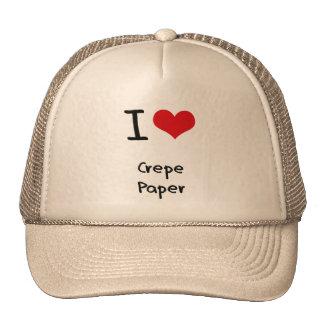 Amo el papel de crespón gorras