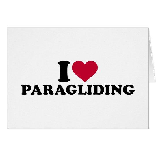 Amo el paragliding tarjeta de felicitación