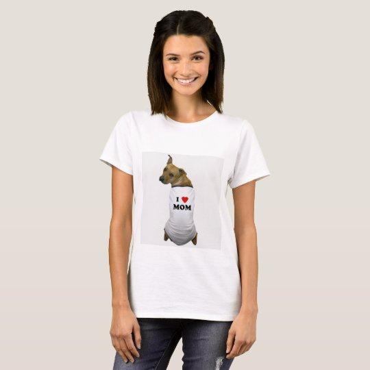 Amo el perro de la mamá camiseta