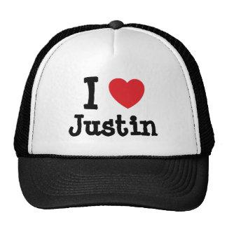 Amo el personalizado del corazón de Justin persona Gorras De Camionero