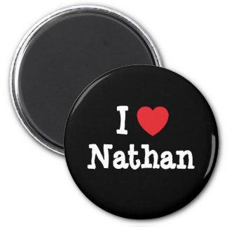 Amo el personalizado del corazón de Nathan persona Imanes