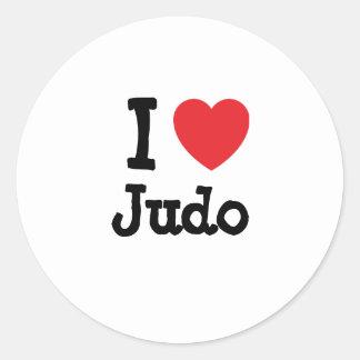 Amo el personalizado del corazón del judo pegatina redonda