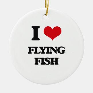 Amo el pez volador adorno redondo de cerámica