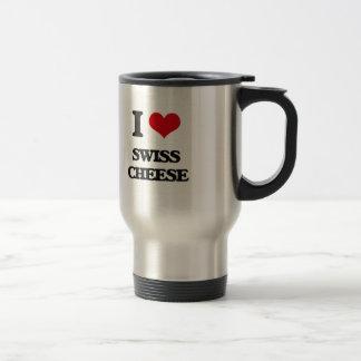 Amo el queso suizo taza de viaje de acero inoxidable