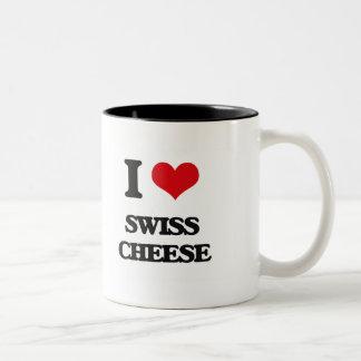 Amo el queso suizo taza dos tonos