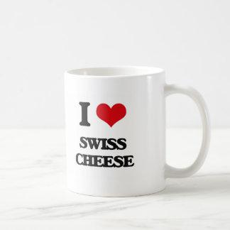 Amo el queso suizo taza básica blanca