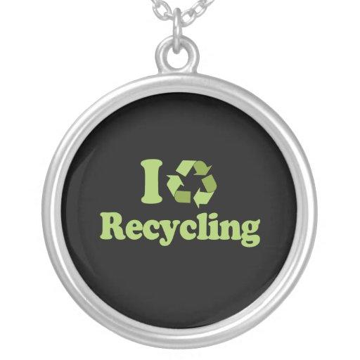 Amo el reciclar de la camiseta/de la camiseta del  colgantes personalizados